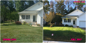 Picture Perfect Lawn Maintenance | 804-530-2540 | Before and After | healthy lawn fertilizer aerating seed service Colonial Heights VA