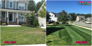 Picture Perfect Lawn Maintenance | 804-530-2540 | Before and After | full service yard care fertlization aeration seeding mowing striped grass Moseley VA