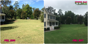 Picture Perfect Lawn Maintenance | 804-530-2540 | Before and After | quality yard service aeration seeding fertilization difference Chesterfield VA
