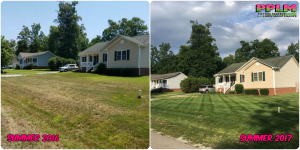 Picture Perfect Lawn Maintenance | 804-530-2540 | Before and After | full service yard care family owned fertilizer mowing pruning Chester VA